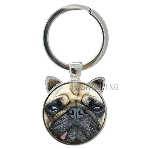 Key Chains - Hot Fashion Animal Keychain Innocent Pug Red Fox Rough Collie Key Chain Ring Holder Cute Dog Jewelry New Men Women Keyring CN764 - by Mct12-1 PCs