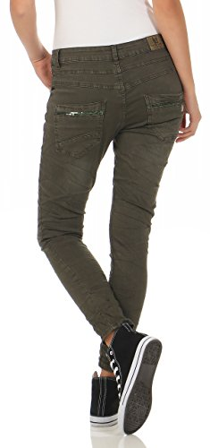 Pantaloni Hipster Distrutto Donna Pocket Sequins 4 Green Donne Look Fiancheggianti Baggy L7118 Fife Stretch Jeans Lexxury 1SRp4R