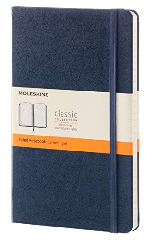 "Moleskine Classic Notebook, Hard Cover, Large (5"" x 8.25"") Ruled/Lined, Sapphire Blue, 240 Pages"