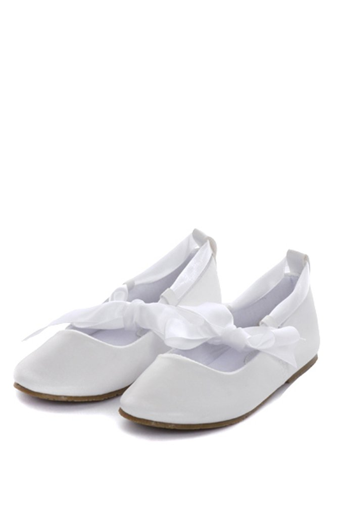 Girl's Ballet Flat Shoes with Ribbon Tie (Little Girl's 10, White)