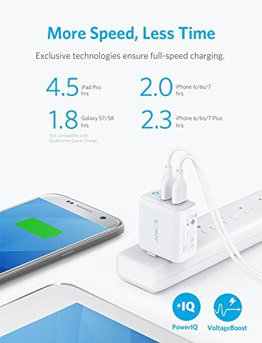 Anker Dual USB Wall Charger, PowerPort II 24W, Ultra-Compact Travel Charger with PowerIQ Technology and Foldable Plug, for iPhone X/8/7/6S/6 Plus, iPad Pro/Air 2/mini 4, Samsung S5, and Mo