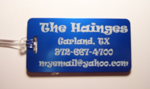 Personalized Aluminum Luggage Tags (5) (Med Blue)