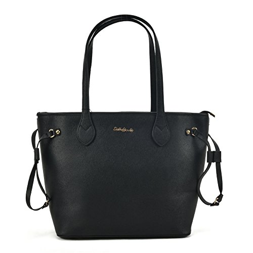 YOUNG Leather Women Fashion SALLY Black PU Quality Bag With Detail Tote High Metal Tqfn1U4
