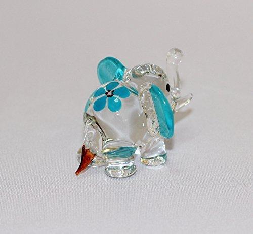Dollhouse Miniatures Hand Blown Art Blue Elephant Flower FIGURINE Animals Decor