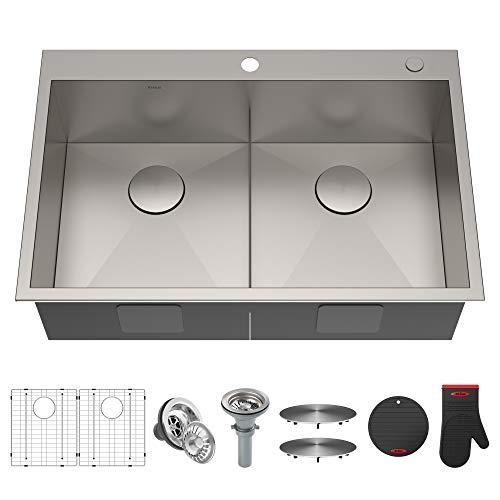 KRAUS 33x22 inch Pax Drop-In 16 Gauge Zero-Radius Double Bowl 2-Hole Stainless Steel Kitchen Sink Set (8 Item Bundle: Sink, Bottom Gridx2, Drain with Strainerx2, Drain Capx2, Kitchen Towel),KP1TD33S-2