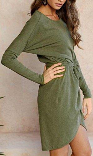 Jaycargogo Femmes Enveloppe Fendue Manches Longues Robe De Midi Pull Avec Le Vert De Ceinture