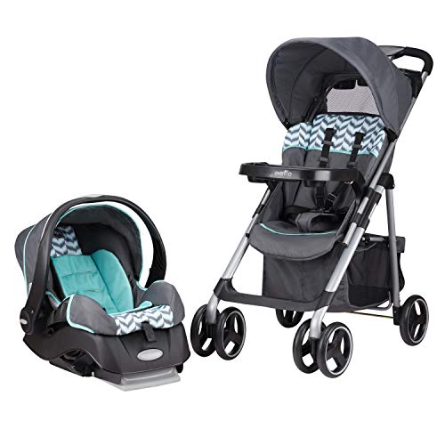 (Evenflo Vive Travel System with Embrace Infant Car Seat, Spearmint Spree)