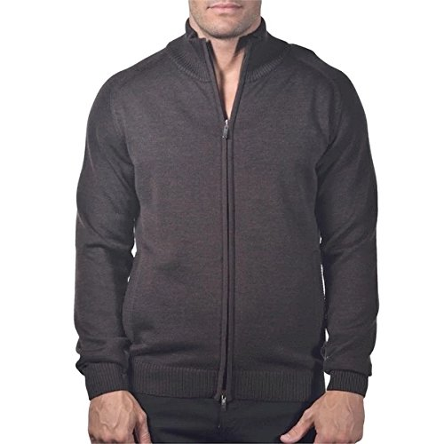 Enzo Mantovani - Men's Merino Wool Full-Zip Sweater with Pockets - Made in Italy (Small, Brown)