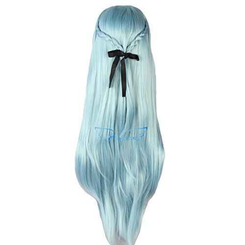 Angelaicos Womens Straight Prestyled Hair Full Wig Long Light Blue (Bar Maid Halloween Costume)
