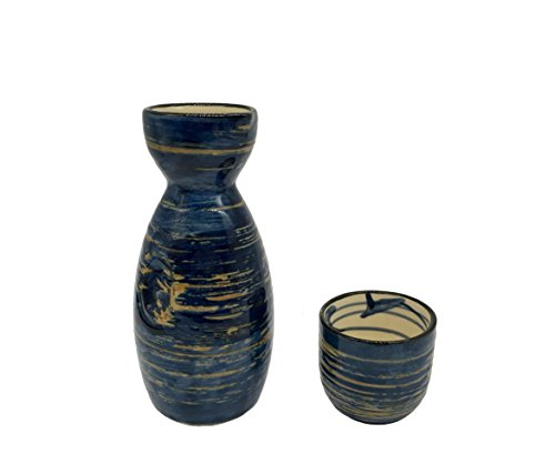 KCHAIN 5 in 1 Ceramic Sake Set Hand Painted Color (Blue) by KCHAIN (Image #2)