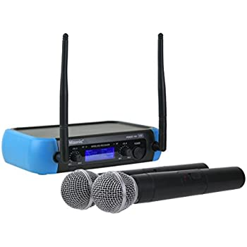 hisonic hs8287 dual vhf wireless microphone system 2 handheld mics musical. Black Bedroom Furniture Sets. Home Design Ideas