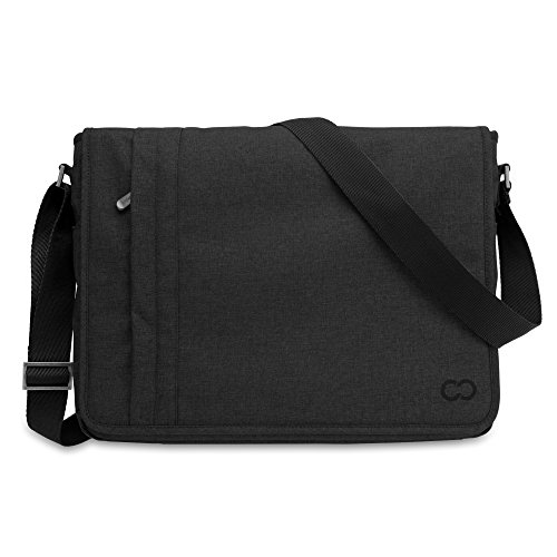 13 Inch MacBook Pro / MacBook Air / Laptop Casecrown Canvas Horizontal - Campus Messenger Bag (Black Stealth)