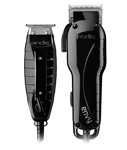 Andis-Stylist-Combo-Powerful-High-speed-adjustable-clipper-blade-T-Outliner-T-blade-trimmer-with-fine-teeth-for-dry-shaving-outlining-and-fading-With-a-BeauWis-Blade-Brush-Included-Black