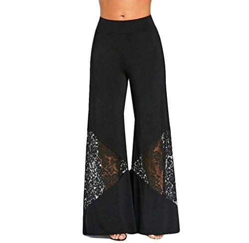 Trousers Stoffa Palazzo Di Lunga Donna Pizzo Nero Haidean Libero Estivi Pantalone Elegante Pantaloni Tempo Glamorous Larghi Semplice Prospettiva Cucitura TqxvaZq