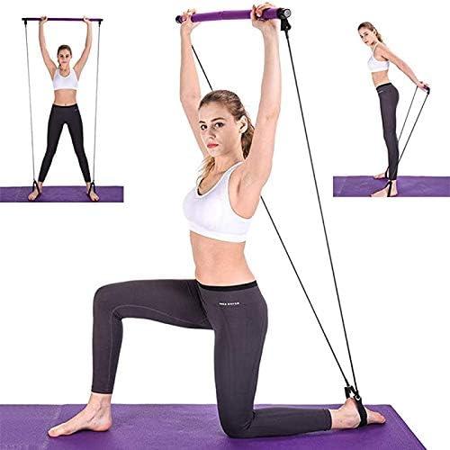Mostfar - Kit de barra de pilates con banda de resistencia portátil para yoga, pilates, herramientas de gimnasio en casa, estiramiento, esculpido, banda de resistencia para barra de sentado