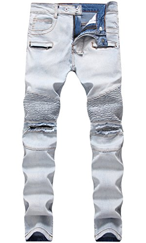 Men's Ripped Destroyed Slim Fit Straight Biker Jeans with Holes, 1799 Light Blue, W32
