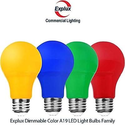 Explux Dimmable High-Output Color LED A19 Light Bulbs
