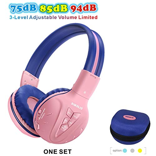 SIMOLIO Volume Limited Wireless Bluetooth Kids Headphones, Children's Headphone with Share Jack, Wireless Headphones for…