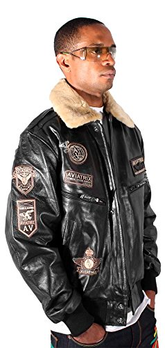 cb85d69c84b free shipping Aviatrix Mens US Air G Force Black Pilot Star Leather Bomber  Jacket Military Aviator