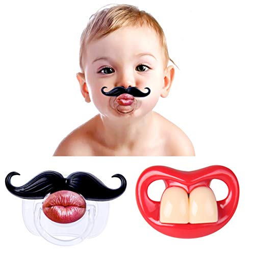 FLYPARTY 2Pcs Funny Teeth And Mustache Pacifier,Cute Gentleman Mustache Designed Baby Pacifiers for Soothe Your Newborn Baby, Perfect Baby Shower Gift For Small Boys Or Girls!
