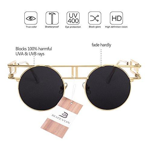 sol BOZEVON Espejo Gafas Flash Vintage Gafas Lente gótico gris Steampunk de Oro de Reflejo HdZwHqvr