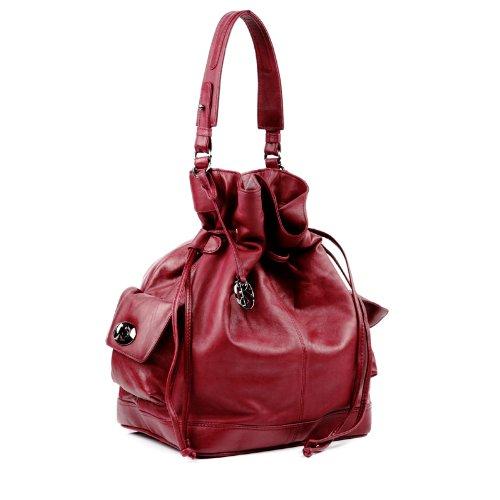 BACCINI bolso de hombro SEADY: cartera con asa larga para mujer bandolera de cuero rojo - (40 x 34 x 20cm)