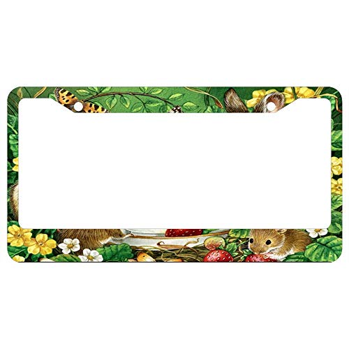 Custom Auto Frames Sweet Easter Critters Cup Saucer Mice License Plate Frame, License Plate Holder, Car Tag Frame for Front or Black License Tag Aluminum Metal