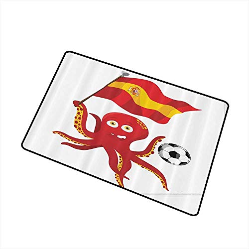 Bedroom Doormat Funny Octopus Soccer Player Spain Flag European Football Barcelona Madrid Valencia Sports Lover Clip Accent for Male W30 xL39 Easy to Clean Red Yellow White