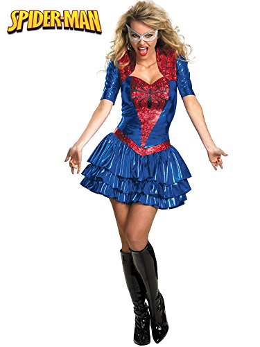 Spidergirl Sassy Deluxe Adult Costumes - Disguise Women Of Marvel Spider-Girl Sassy Deluxe Costume, Red/Blue,