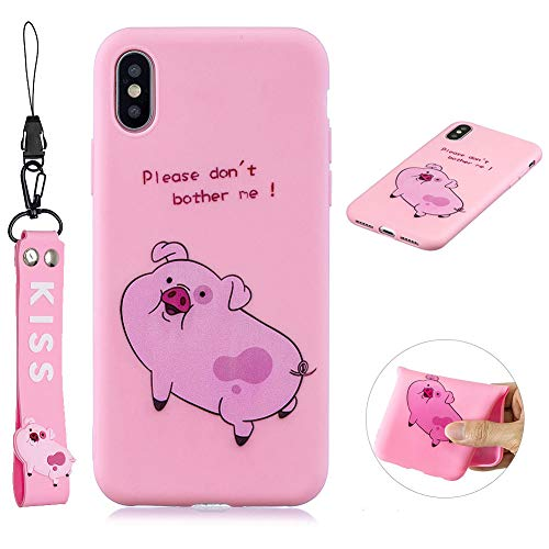- SKYXD Cute Fun Phone Case for iPhone X/Xs, Pink Pig Cartoon Animal Silicone Soft Thin TPU Bumper Protective Case with Lovely Hand Wrist Strap Bracelet + Screen Protector Cover