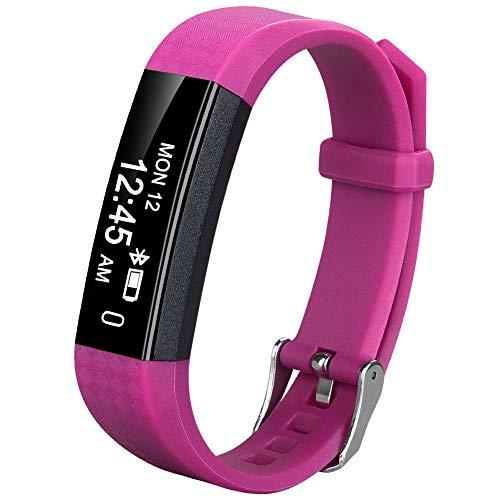 Coch Fitness Tracker, IP67 Waterproof Activity Tracker Watch,Sleep Monitor,Smart Fitness Band,Bluetooth Step Counter Kids Women Men (Rosered)