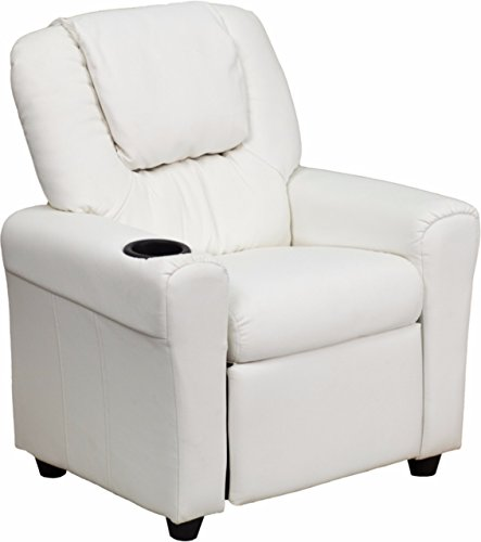 Winston Direct Kids Series Contemporary Vinyl Recliner with Cup Holder and Headrest - White