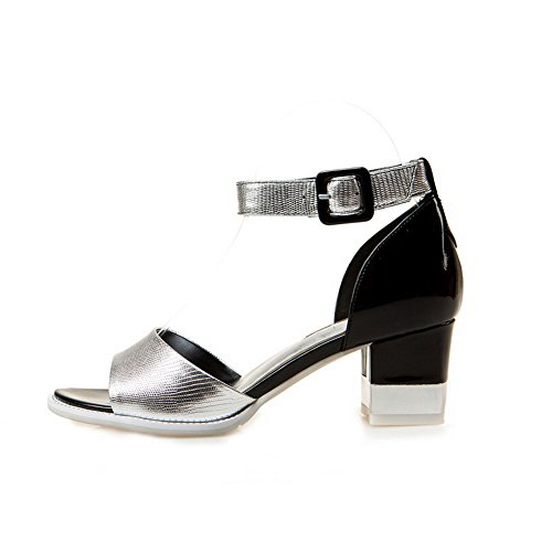 AgooLar Women's Patent Leather Open Toe Kitten Heels Buckle Assorted Color Sandals Silver 3nZOM