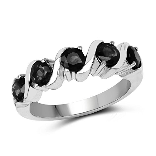 - 4.00MM Round Black Sapphire Ring in .925 Sterling Silver, Real Genuine Black Sapphire Mother's Day Gift (1.70ctw)