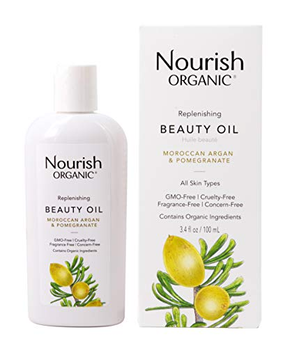 Nourish Organic Replenishing Beauty Oil, For Body, Face and Hair with Pomegranate and Moroccan Argan, 3.4 Ounce (Packagin may vary)