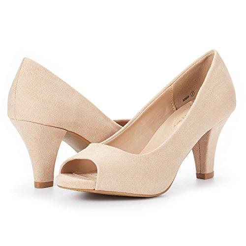 Peep DREAM Toe Shoes Women's Susan Fashion Pumps Stilettos Heels Nude PAIRS qrwrBnxX