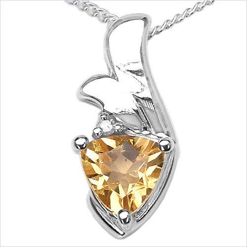 Bijoux Schmidt-Collier / Pendentif de citrine de diamant en argent 925 / Rhodium