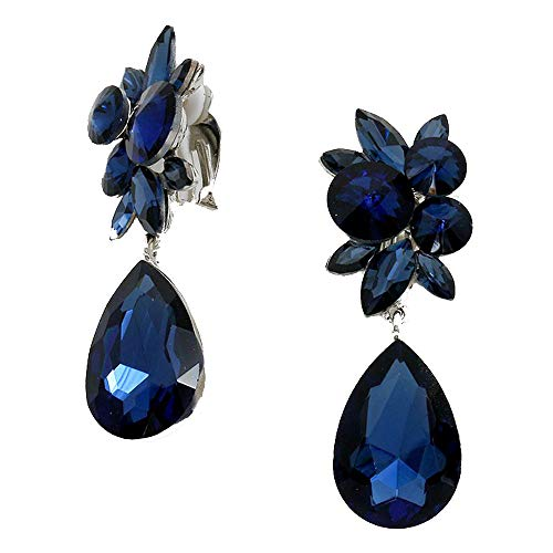 (Vintage Style Navy Blue Glass Crystal & Rhinestone Clip On/Non Pierced Earrings Accented with Silvertones 2.75 in)