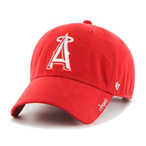 MLB Los Angeles Angels Women'S Sparkle Team Color Clean Up Adjustable Hat, One Size, (Angels Baseball Hat)