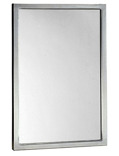 Bobrick 2908 Series 304 Stainless Steel Welded Frame Tempered Glass Mirror, Satin -
