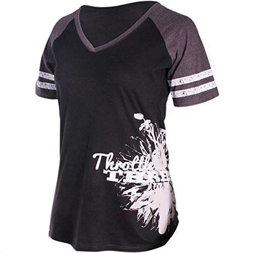 Throttle Threads Short-Sleeve Womens Shirt Black/Heathered Charcoal (Gray, Small)
