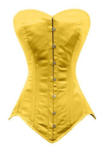 Luvsecretlingerie 26 Double Steel Bone Waist Training Satin Long Overbust Corset, Yellow, M/26 (For waist 30