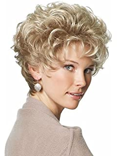 MEILEDA Short Wigs for Women with Bangs Fluffy Curly Golden Heat Resistant Synthetic Wigs + Wig