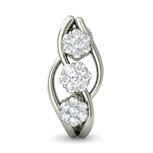 18 K Or Blanc 0,48 CT TW Round-cut-diamond (IJ | SI) Boucles d'oreilles créoles