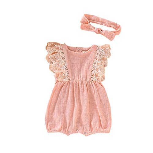 Youmymine Infant Kids Baby Girl Sleeveless Romper Summer Lace Ruffled Bodysuit with Hair Band Outfit Set (6-12 Months, Pink)