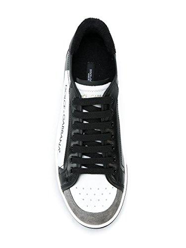 Dolce Chaussures De Sport En Cuir Blanc / Noir E De Gabbana Hommes