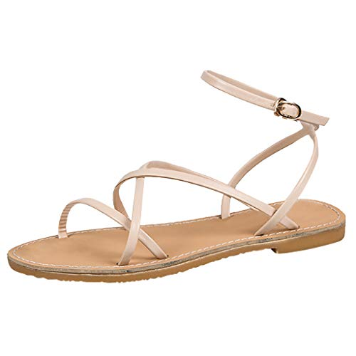 MmNote Women's Ladies Bohemia Style Buckle Flat Rome Beach Sandals Casual Shoes Beige