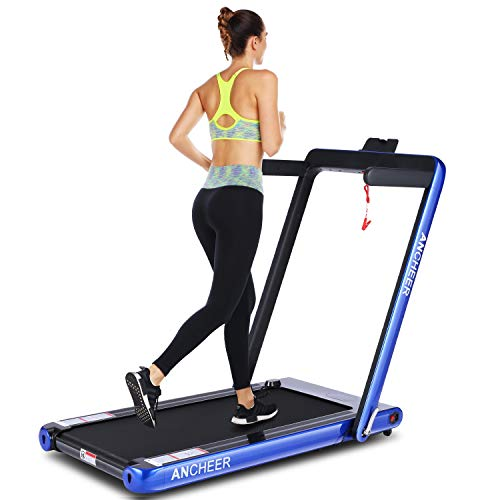 ANCHEER 2 in 1 Folding Treadmill, 2.25HP Electric Treadmill, Under Desk Portable Treadmill Walking Running Machine with Bluetooth Audio Speakers for Home Gym Cardio Exercise (Blue)