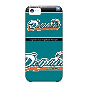 Iphone 5c Hard Back With Bumper Silicone Gel Tpu Case Cover Miami Dolphins