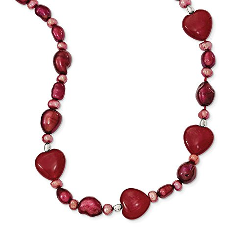 JewelryWeb Sterling Silver Fancy Lobster Closure Red Dyed Jade Hearts Freshwater Cultured Pearl Necklace - 17 Inch